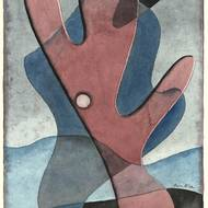 Alfred Arndt, Rot auf Blau, Aquarell, 1932