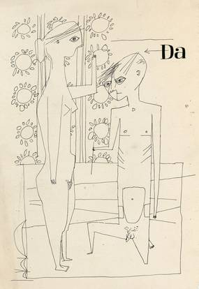 """Helmut Lortz, """"Da"""" (Paar), Tusche, 1949"""