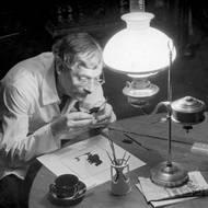 Ernst Moritz Engert bei der Arbeit, Fotograf unbekannt