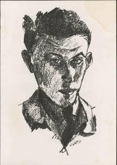 Jakob Kahn, Selbstbildnis, Lithografie, 1923.