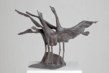 Gotthelf Schlotter, Drei auffliegende Kraniche, Bronze, um 1992.