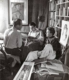 """Karl Heinz Reinheimer, Georg Hensel und Helmut Lortz im Atelier """"Saustall"""", 1948"""