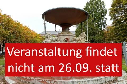 Darmstadt als Brunnenstadt. Besuch am restaurierten Löwenbrunnen