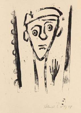 Helmut Lortz, Selbstporträt, Holzschnitt, 1948